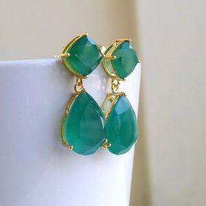 Beautiful green onyx earrings